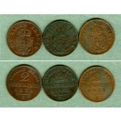 Lot: Preussen 3x  2 Pfenninge  ss+  [1854-1868]