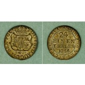 Sachsen 1/24 Taler (Groschen) 1756 FwoF  ss-vz