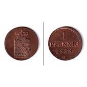 Sachsen 1 Pfennig 1838 G  vz-st