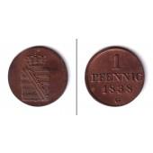 Sachsen 1 Pfennig 1838 G  vz