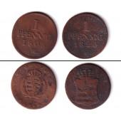 Lot: Sachsen 2x 1 Pfennig  s-ss  selten  [1808-1825]