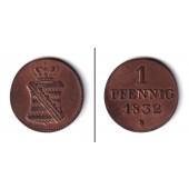 Sachsen 1 Pfennig 1832 S  f.vz