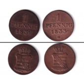 Lot: Sachsen 2x 1 Pfennig  ss  [1832-1833]