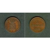 Sachsen Meiningen 2 Pfennige 1863  vz