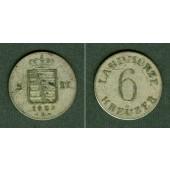 Sachsen Meiningen 6 Kreuzer 1829 L  ss/ss+
