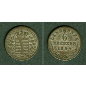 Sachsen Meiningen 6 Kreuzer 1834 L  ss+