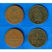 Lot: Sachsen Weimar und Eisenach 2x 1 Pfennig  ss  [1851-1865]