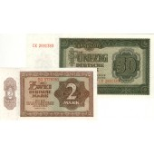 Lot:  DDR 2x Banknote  2 + 50 DEUTSCHE MARK 1948  I
