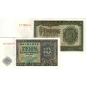 Lot:  DDR 2x Banknote  10 + 50 DEUTSCHE MARK 1948  I