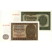 Lot:  DDR 2x Banknote  20 + 50 DEUTSCHE MARK 1948  I