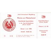 DDR: HOTEL INTERNATIONAL MAGDEBURG Gutschein 1990  I