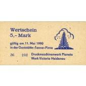 DDR: Gaststätte TANNE Pirna Wertschein 5 Mark 1990  I