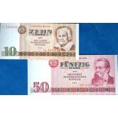 Lot:  DDR 2x Banknote  10 + 50 MARK 1971  I