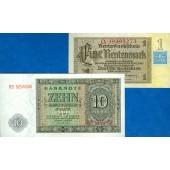Lot:  DDR 2x Banknote  1 + 10 MARK 1948  I-