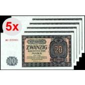Lot:  DDR 5x Banknote  20 DEUTSCHE MARK 1955  Ro.351a  f.I