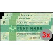 Lot:  DDR  3x Forum-Schecks  5 MARK 1979  Ro.369b  Ersatznote  f.I