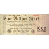 1 BILLION MARK 1923  Ro.126c  II-III  selten!