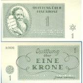 Dt. Besatzung Böhmen & Mähren Theresienstadt 1 Krone 1943  I-