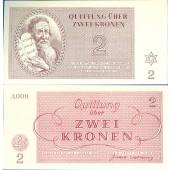 Dt. Besatzung Böhmen & Mähren Theresienstadt 2 Kronen 1943  I-