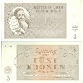 Dt. Besatzung Böhmen & Mähren Theresienstadt 5 Kronen 1943  I-