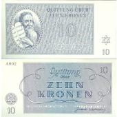 Dt. Besatzung Böhmen & Mähren Theresienstadt 10 Kronen 1943  I-