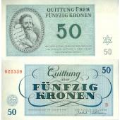 Dt. Besatzung Böhmen & Mähren Theresienstadt 50 Kronen 1943  I-