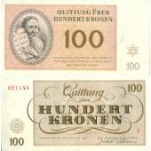 Dt. Besatzung Böhmen & Mähren Theresienstadt 100 Kronen 1943  I-