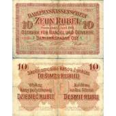 Deutsche Besatzung RUSSLAND 10 Rubel 1916  Ro.461  IV