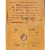 DEUTSCH OSTAFRIKA 5 Rupien 1917  Ro.937c  III+  selten