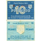 Alliierte Besatzung BADEN 10 Pfennig 1947 Ro.209c  II-III  selten