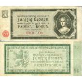 Dt. Besatzung Böhmen & Mähren 50 Kronen 1940 Ro.561a  III-