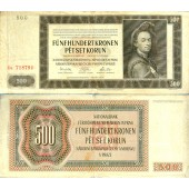 Dt. Besatzung Böhmen & Mähren 500 Kronen 1942 Ro.565a  III-