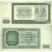 Dt. Besatzung Böhmen & Mähren 1000 Kronen 1942 Ro.566d  III