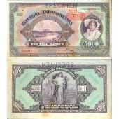 Dt. Besatzung Böhmen & Mähren 5000 Kronen 1943 Ro.567d  II  selten