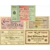 Lot: Notgeld Inflation 5x gemischt  II-IV  [1923]