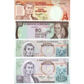 Lot: KOLUMBIEN / COLOMBIA  4x Banknote  I  [1976-1991]