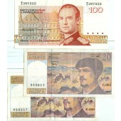 Lot: EUROPA / EUROPE Mix FRA LUX  3x Banknote  [1986-1997]