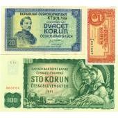 Lot: TSCHECHOSLOWAKEI / CZECHOSLOVAKIA 3x Banknote  II+  [1945-1961]