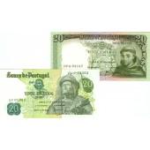 Lot: PORTUGAL 2x Banknote  20 Escudos  I  [1964-1971]