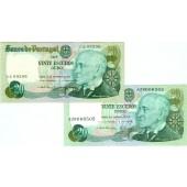 Lot: PORTUGAL 2x Banknote  20 Escudos 1978  I