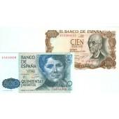 Lot: SPANIEN  2x Banknote 100 + 500 Pesetas  f.I  [1970-1979]
