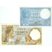 Lot: FRANKREICH 2x Banknote 10 + 100 Francs 1941  III+