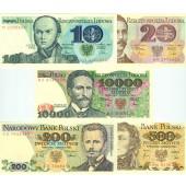 Lot: POLEN / POLAND  5x Banknote Zloty  I  [1982-1988]