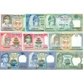 Lot: NEPAL 9x Rupee Banknote  I  [1974-1991]