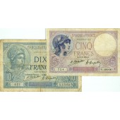 Lot: FRANKREICH 2x Banknote 5 + 10 Francs 1924  III-IV