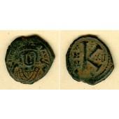 Flavius MAURICE TIBERIUS  Halb-Follis  ss+  [593-594]