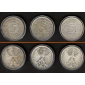 Lot:  BRD 3x 5 DM Münzen  SILBER  [1951-1956]