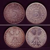 Lot:  BRD 2x 5 DM Münzen  SILBER  ss+  [1958-1965]