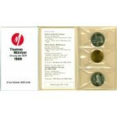 Deutschland DDR 2x 5M + Medaille 1989  Thomas-Müntzer-Ehrung  stgl.