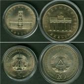 Lot: DDR 2x  5 + 20 Mark Gedenkmünzen BERLIN  st  [1987-1990]